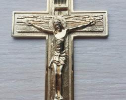 Крест латунный с позолотой и цепью