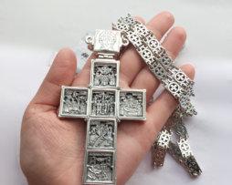 Крест наперсный серебряный с цепью 120 см для священнослужителей
