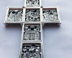 """Крест серебряный с цепью 120 см """"12 праздников"""""""