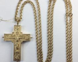 Крест-мощевик латунный в позолоте с цепью 120 см.