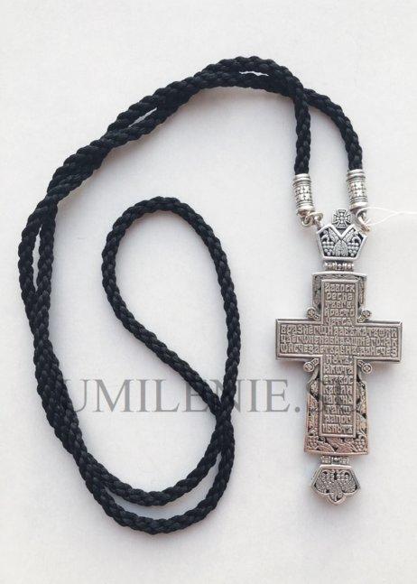 Крест серебряный со вставками на гайтане