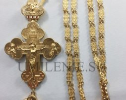 Крест наперсный латунный в позолоте с мощевиком и с цепью