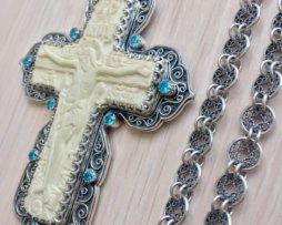 Крест  серебряный с цепью 120 см.