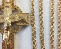 Крест латунный  в позолоте с цепью