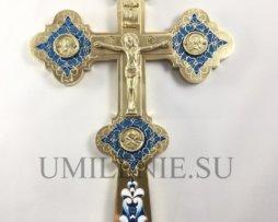 Крест напрестольный латунный без покрытия с эмалью.