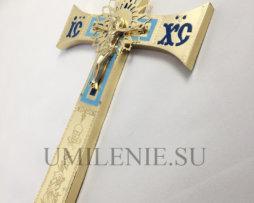Крест напрестольный латунный без покрытия с эмалью