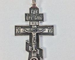Крест иерейский  из ювелирного сплава в серебрении и чернении c цепью 140 см.
