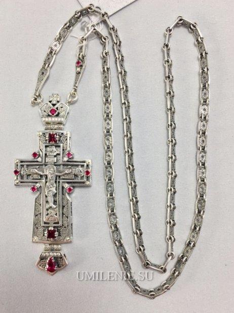 Крест  серебряный с цепью 60 см.