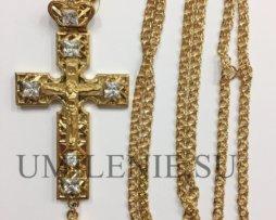 Крест для наперсный латунный в позолоте c цепью