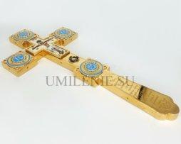 Крест напрестольный латунный в позолоте с эмалью