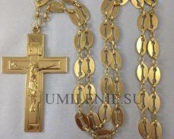 Крест протоиерейский латунный в позолоте с цепью