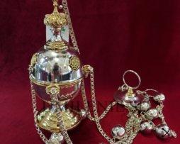 Кадило латунное в серебрении с фрагментарной позолотой