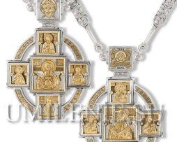Панагия серебряная в позолоте с цепью