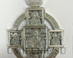Панагия архиерейская многосюжетная серебряная с цепью