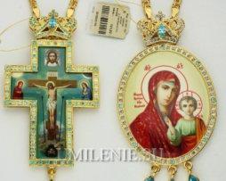 Крест и панагия латунные с принтом в позолоте с цепью. Двойник.