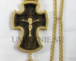 Крест наперсный деревянный в латунном позолоченном обрамлении с цепью