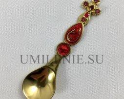 Лжица серебряная малая с фрагментарной позолотой и эмалью