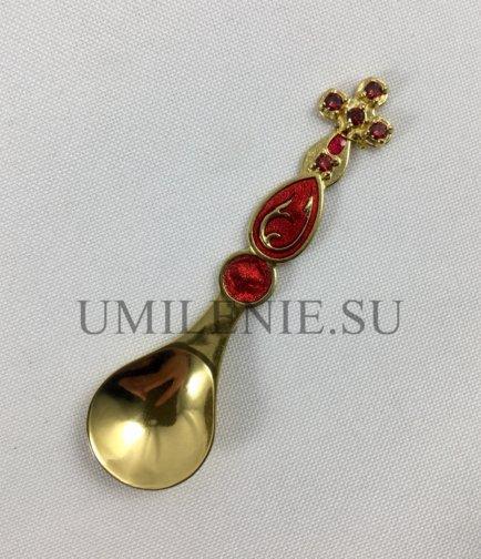 Лжица латунная малая в позолоте с эмалью