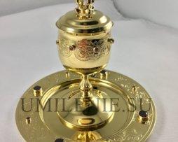 Чаша для елеопомазания латунная с гравировкой в позолоте с цирконием