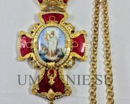 Крест наперсный с украшениями латунный в позолоте с цепью для священника