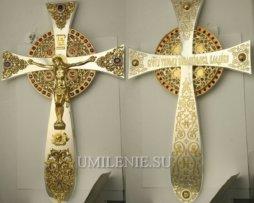 Крест напрестольный латунный с фрагментальной позолотой