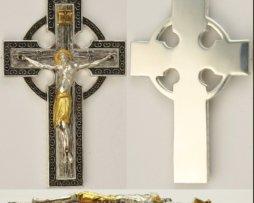 Крест латунный с родированием и позолотой