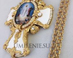 Крест наперсный латунный в позолоте c цепью для священнослужителей
