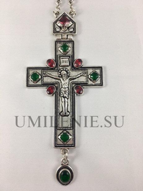 Крест наперсный из британского металла в серебрении в серебрении с цепью 140 см