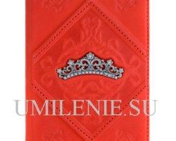 Обложка для паспорта из кожи. Серебро. Диадема. Подарок, сувенир