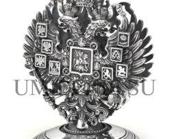 Подставка для визиток_Империя_канцтовары_кожа_серебро_подарки_сувениры