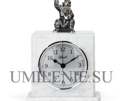 Часы_каминные_мрамор_серебро_подарки_сувениры