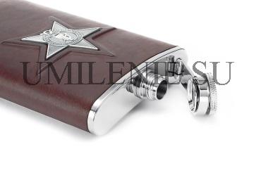 Фляга серебряная_кожа_серебро_подарки_сувениры