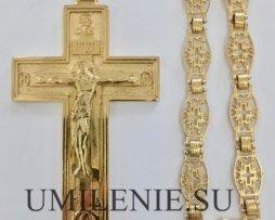 Крест наперсный протоиерейский латунный с цепью для священнослужителей.