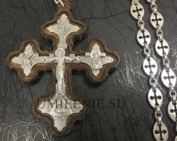 Крест наперсный серебряный в дереве с цепью для священника