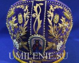 Митра фиолетовая, золото, стразы, жемчуг_31.047