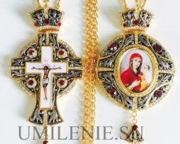 Комплект: крест и панагия латунные с украшениями