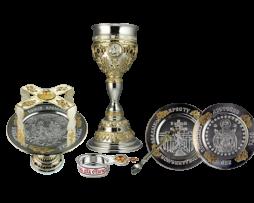 Евхаристический набор серебряный с потиром на 1,0 литр
