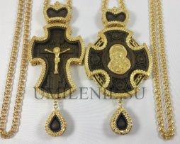 Комплект панагия и крест деревянные в позолоте