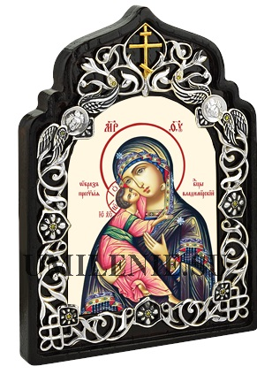 Икона настольная латунная - Богородица Владимирская