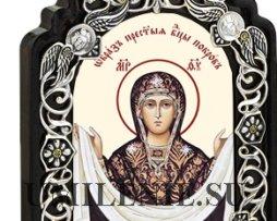 Икона настольная латунная - Покров Пресвятой Богородицы