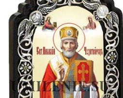 Икона настольная латунная - святитель Николай Чудотворец
