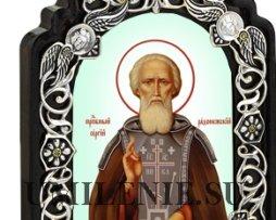 Икона настольная латунная - святой преподобный Сергий Радонежский Чудотворец