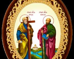Икона настольная латунная - святые Первоверховные Апостолы Петр и Павел
