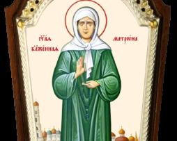 Икона настольная латунная в серебре - святая блаженная Матрона Московская