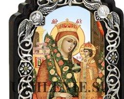 Настольная икона -латунная - Богородица Неувядаемый Цвет