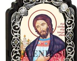 Настольная икона латунная - святой Благоверный Великий Князь Александр Невский