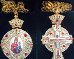 Крест и панагия латунные в позолоте с цепями