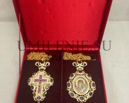Комплект: крест и панагия латунные с украшениями для священника