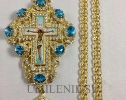 Крест латунный в позолоте с украшениями с цепью
