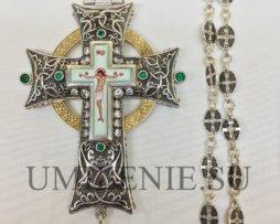 Крест наперсный латунный с украшениями и цепью